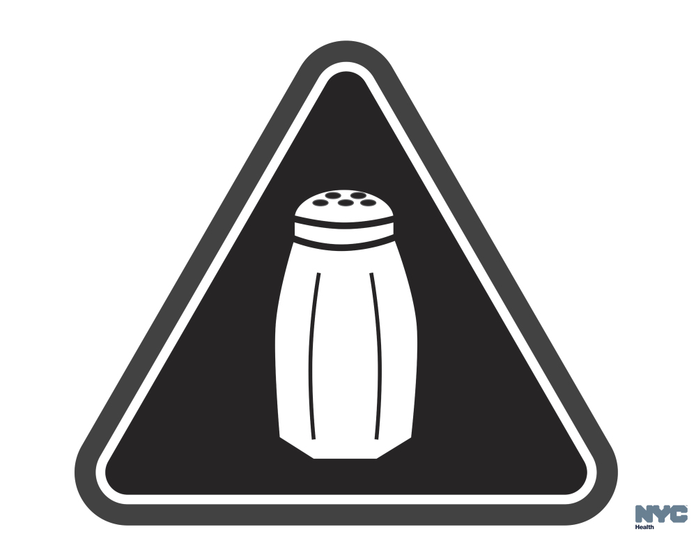 FILE - In this undated image provided by the New York City Health Department, a graphic warning New York city consumers of high salt content in foods required on menus at many fast-food and chain restaurants is shown. A New York State Supreme Court Appellate Division panel ruled Friday, Feb. 10, 2017, that the requirement for chain restaurants to flag salty items on their menus is both legal and