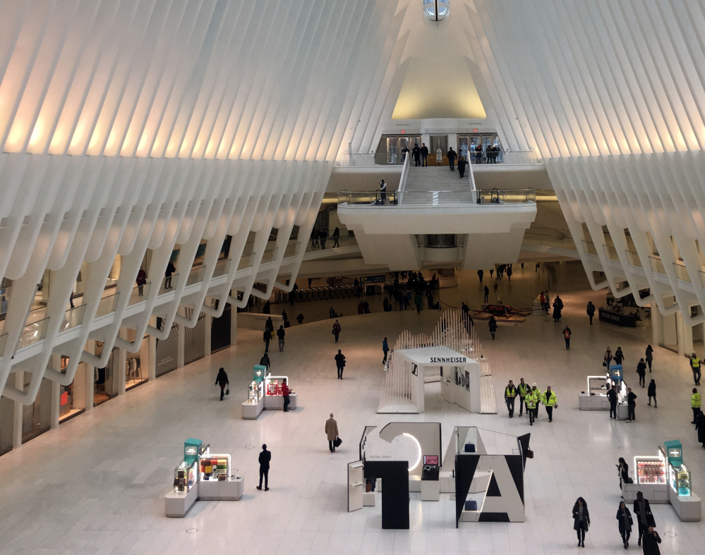 Photo shows the interior of the Oculus in New York. Police say a 29-year-old woman plunged about 30 feet to her death off an escalator inside the World Trade Center Oculus.