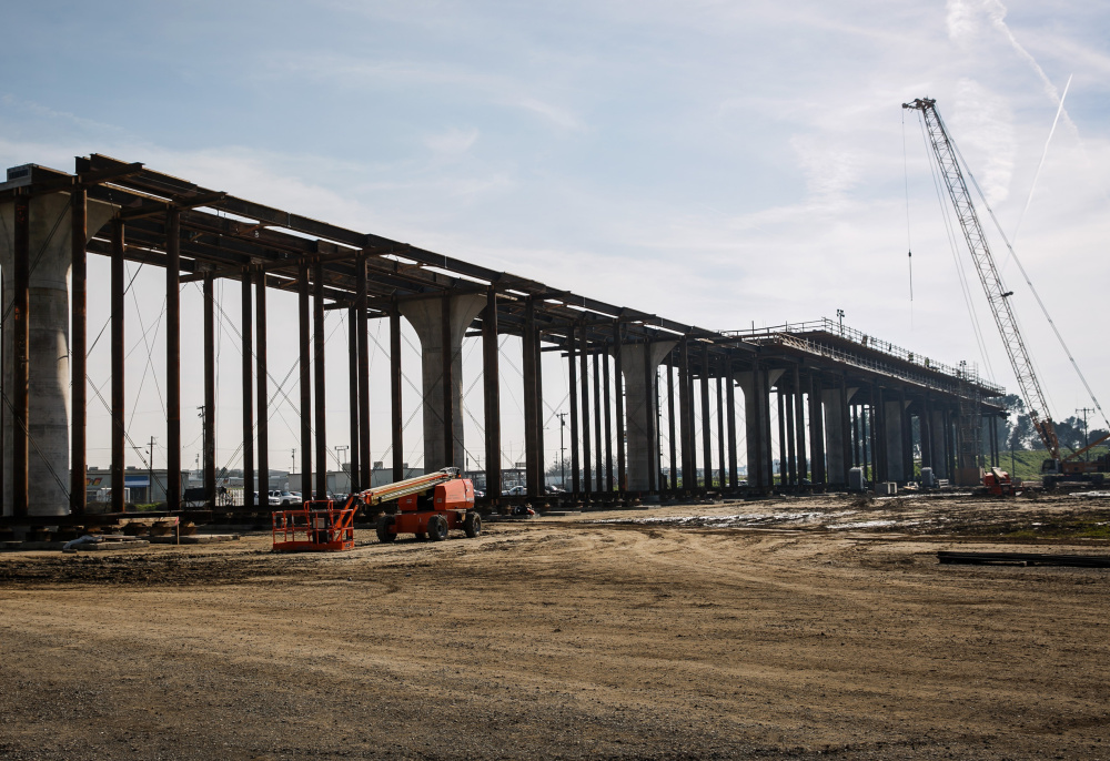A viaduct being built to extend over Route 99 in California's Fresno County for a high-speed rail line. The state plans an 800-mile passenger system that links four of its biggest cities.