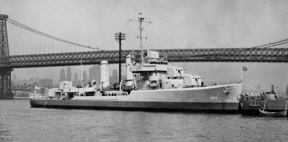 Photo provided by the Navy shows the USS Turner on the East River in New York City near the Williamsburg Bridge.