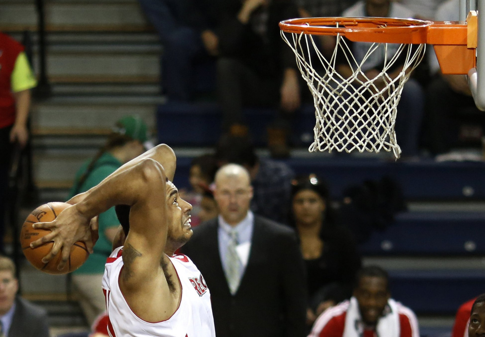 Fab Melo, who once had 14 blocks in a game for the Maine Red Claws, was the 22nd pick in the 2012 NBA draft by the Boston Celtics. Melo played 33 games for the Red Claws.  File photo by Gabe Souza