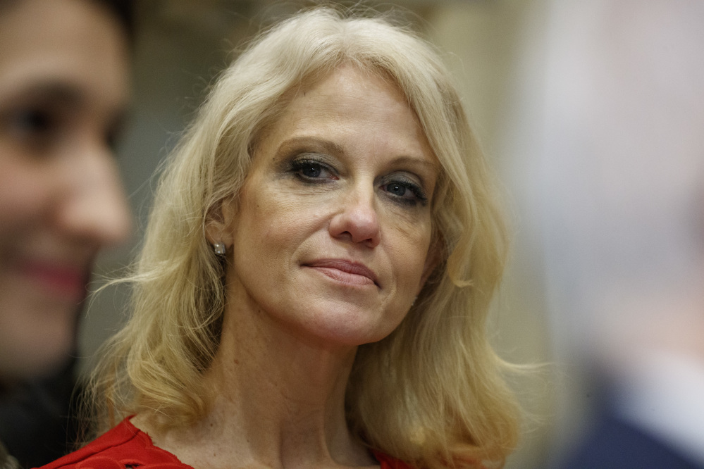 "Kellyanne Conway, senior adviser to President Trump, watches during a meeting with parents and teachers Tuesday at the White House. The director of the Office of Government Ethics says Conway appeared to violate federal ethics rules when she gave ""a free commercial"" for Ivanka Trump during a TV interview."