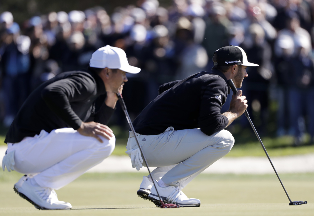 Dustin Johnson, right, could move in front of Jason Day, left, in the world rankings with a win this weekend in the Genesis Open at Riviera. Hideki Matsuyama has a shot, too.