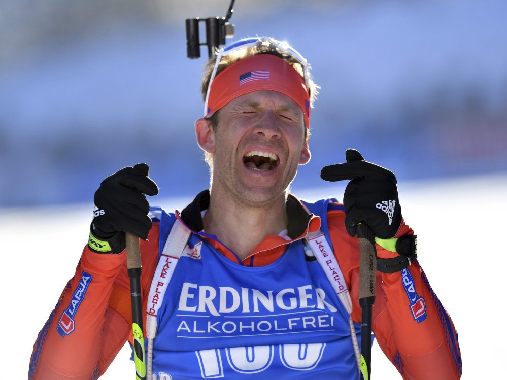Lowell Bailey of the United States celebrates after the men's 20-K individual competition at the Biathlon World Championships in Hochfilzen, Austria on Thursday.
