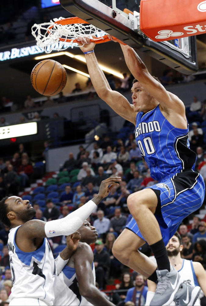 Aaron Gordon of the Orlando Magic, who finished second in the event a year ago, says he has original and creative ideas as he prepares for the NBA slam dunk contest that will be held Saturday night as part of All-Star Weekend in New Orleans.