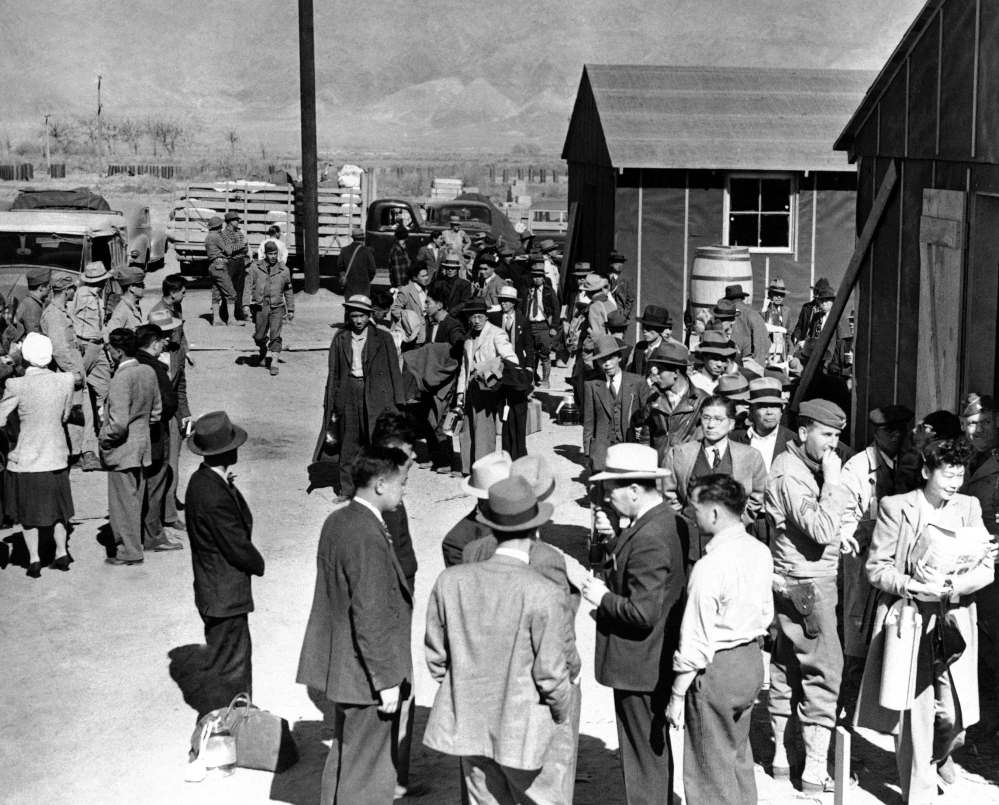 The first prisoners arrive in March of 1942 at the Japanese evacuee community established in Owens Valley in Manzanar, Calif.