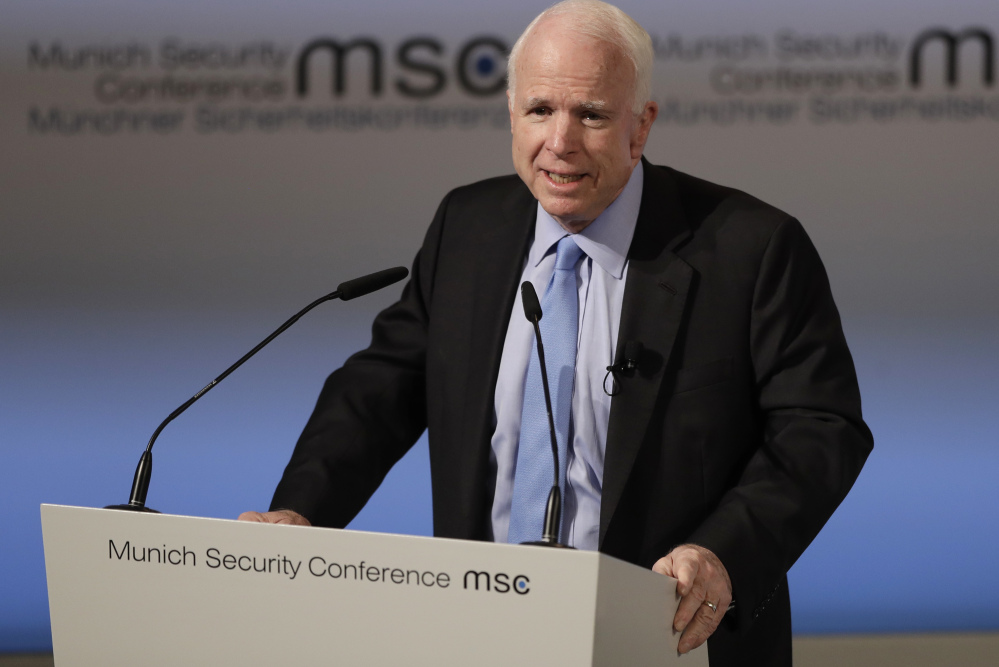 While not mentioning President Trump by name, Sen. John McCain, R-Ariz., laments the White House's tone while addressing the Munich Security Conference on Friday.