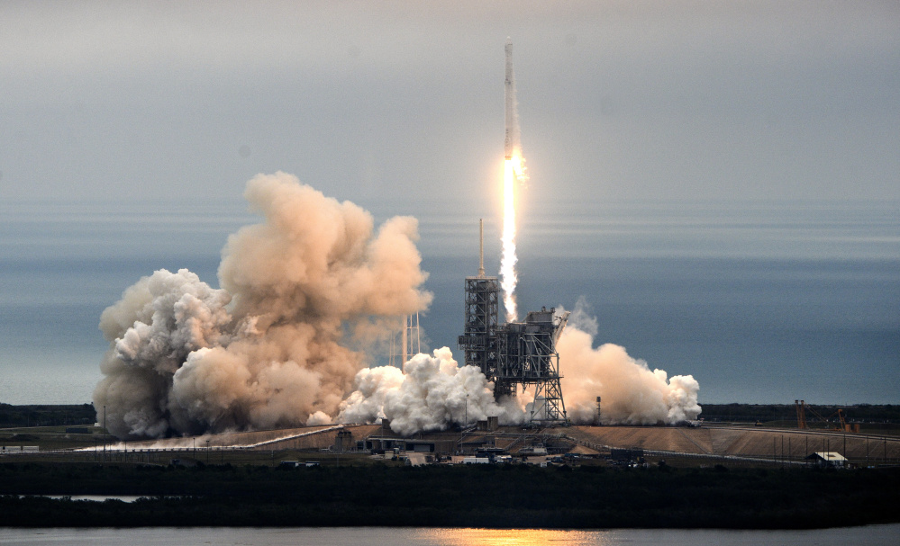 The SpaceX Falcon rocket lifts off from the Kennedy Space Center in Florida on Sunday, carrying a load of supplies for the International Space Station.