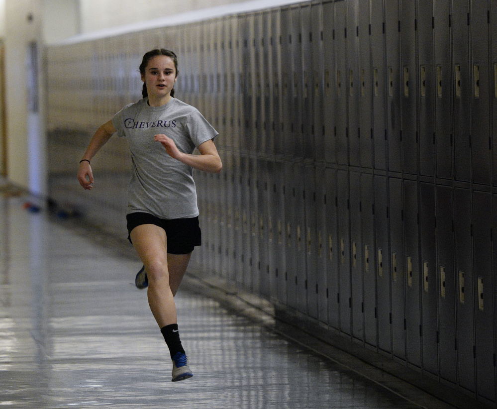 Emma Gallant, a freshman at Cheverus, is expected to play a big role in the Stags' quest for their first indoor track state title. She is seeded first in the 200 and 400, and second in the 55.