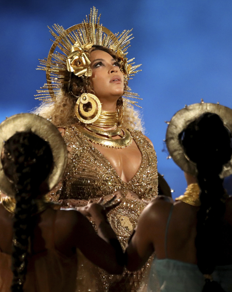 Beyonce performs at the 59th annual Grammy Awards in Los Angeles earlier this month.
