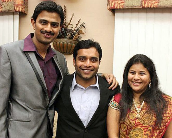 Srinivas Kuchibhotla, left, with Alok Madasani and Madasani's wife, Sunayana Dumala, in Cedar Rapids, Iowa. Kuchibhotla and Madasani were targeted in a bar by a gunman who yelled,