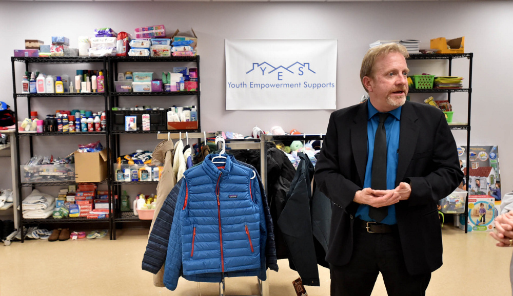 David Sovetsky, program director at the Mid-Maine Homeless Shelter in Waterville, gives a tour or the shelter's store on Friday. He said tenants will be trained to manage rent payments, work with landlords and coexist with other residents.