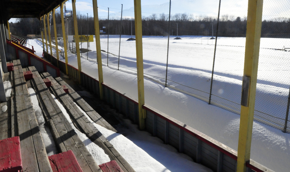 The race track at Unity Raceway, seen from the grandstand, is covered with snow on Wednesday. Plans for a race on the snow are scheduled for early March. (David Leaming/Morning Sentinel)