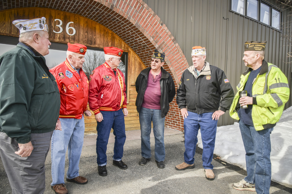 American veterans group leaders meet outside the offices of the Kennebec Journal to discuss the decline in veterans group membership. They are, from left, James Laflin,  commander of the AMVETS Post 2001 in Augusta; Ralph Sargent, junior vice commandant of Veterans of Foreign Wars Post 9 in Gardiner; Bill Schultz, commandant of Marine Corps League Kennebec Valley Detachment 599; Roger Paradis, adjutant, historian and Americanism coordinator for American Legion Smith-Wiley Post 4 in Gardiner; Roger McLane, commander of VFW Post 9 in Gardiner; and Eric Hunt, an associate member of Marine Corps League Kennebec Valley Detachment 599.