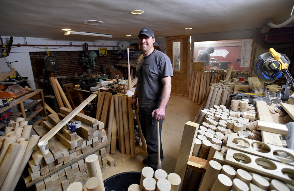 Jesse LaCasse makes baseball bats in the basement of what is now a baseball center at 4 Madison Ave. in Skowhegan.