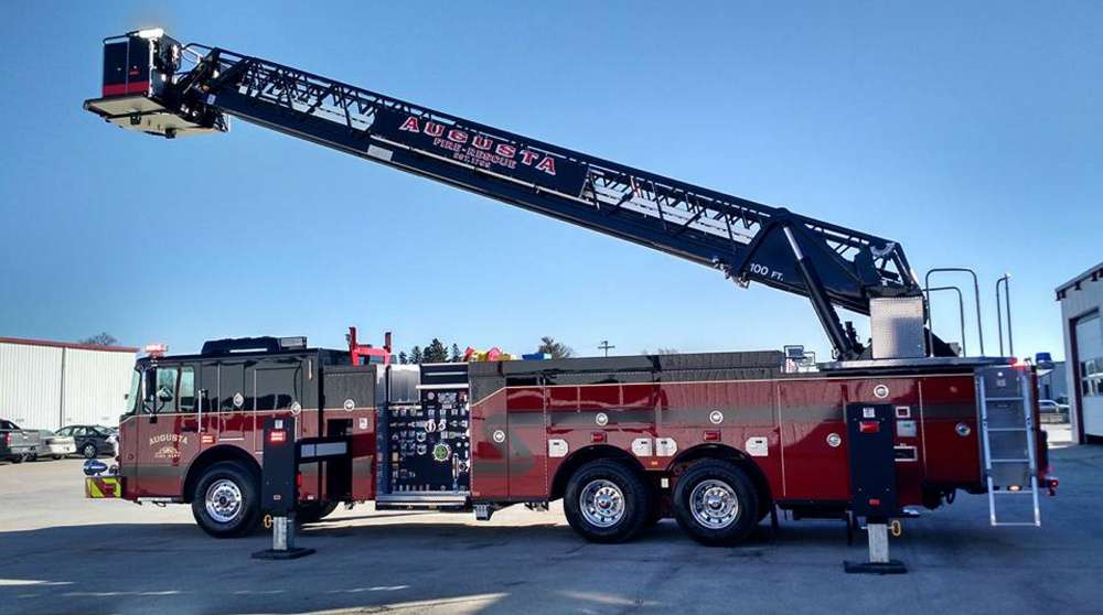 Augusta's crew of roughly 50 firefighters will have at least a month to train with their new ladder truck, above, which will be brought from Nebraska to Maine this spring.