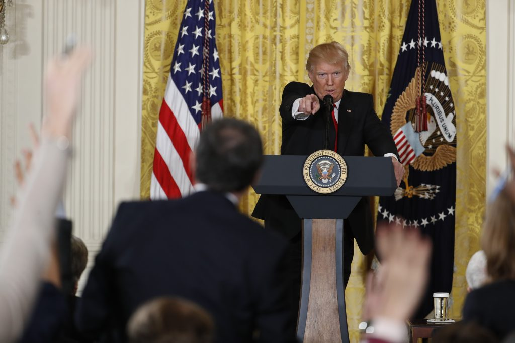 President Trump calls on a reporter during his news conference Thursday at the White House.