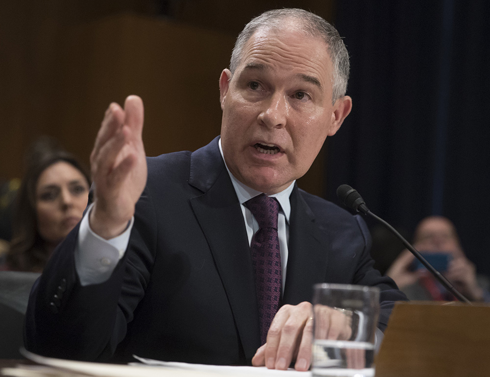 EPA Administrator nominee Scott Pruitt, seen at his confirmation hearing in  January, continues to spread misinformation about climate change.