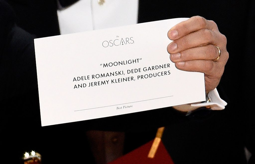 "Jordan Horowitz holds up the envelope that reveals ""Moonlight"" as the true winner of the award for best picture at the Oscars on Sunday at the Dolby Theatre in Los Angeles."