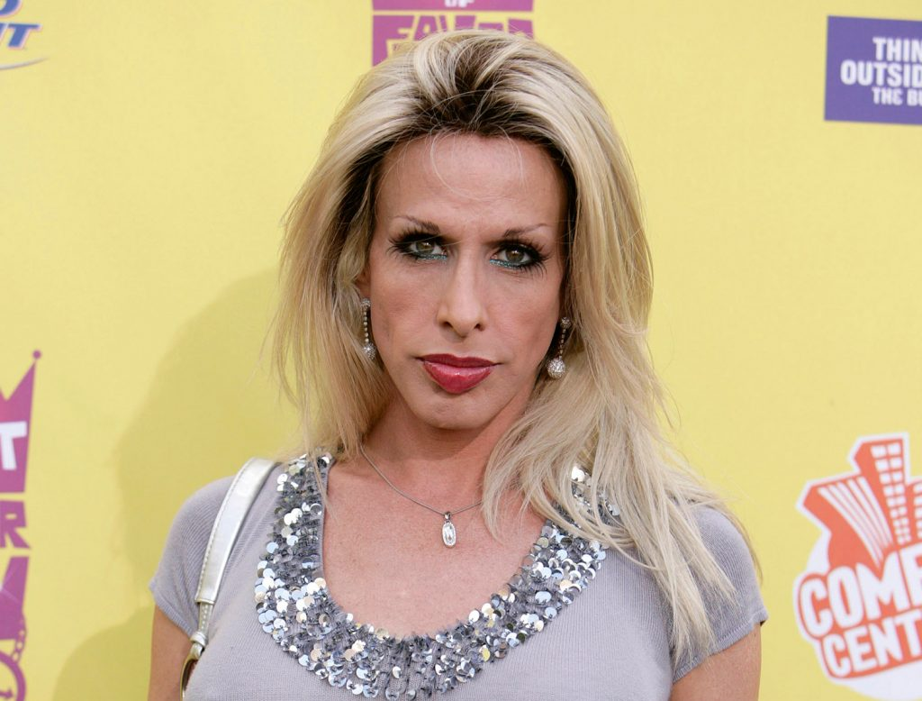 """Alexis Arquette arrives at the """"Comedy Central Roast of Flavor Flav"""" in Burbank, California, in this 2007 photo. Actress Patricia Arquette says she was upset that the Oscars left her transgender sister out of the """"In Memoriam"""" tribute during the awards show on Sunday."""