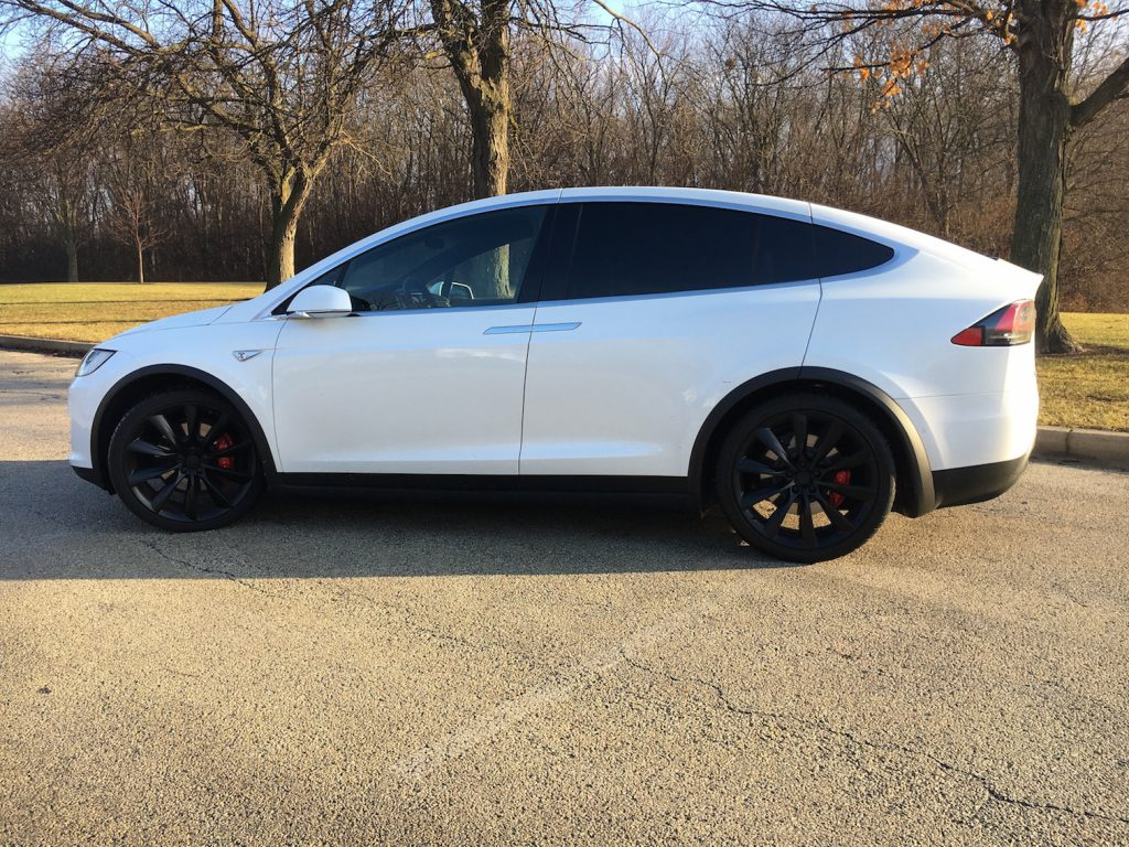 The Tesla Model X P100D all-electric three-row SUV hits 60 mph in 2.9 seconds and uses falcon wing doors to access the rear seats.