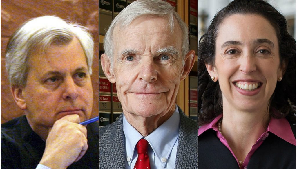 Jjudges Richard Clifton, left, William Canby Jr. and Michelle Taryn Friedland rejected the government's argument that suspension of President Trump's immigration order should be lifted immediately for national security reasons.