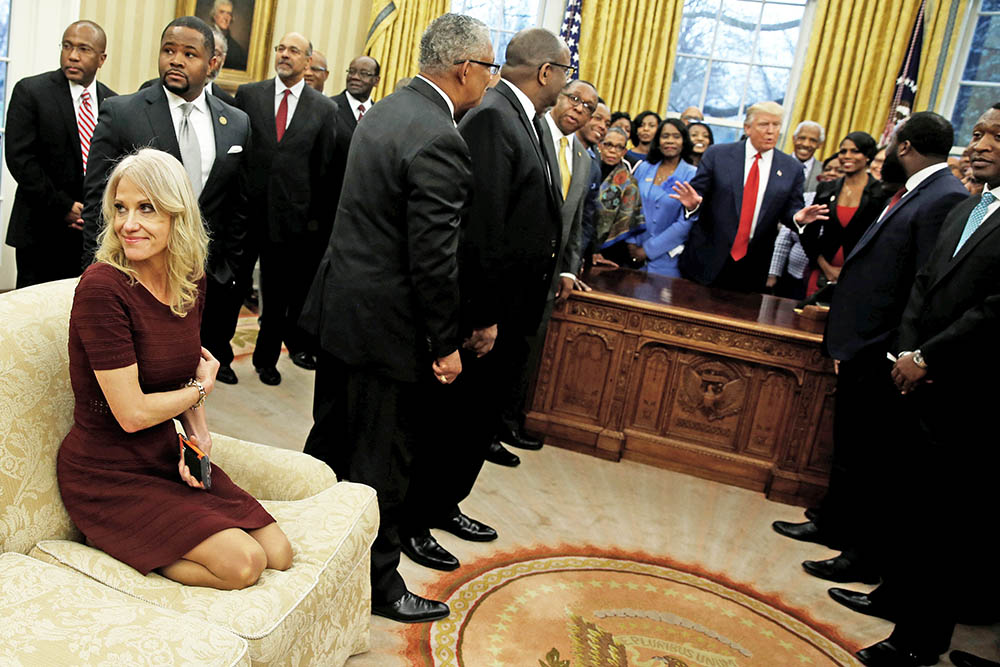 Senior Counselor Kellyanne Conway  at Trump's meeting with leaders historically black colleges and universities Monday.