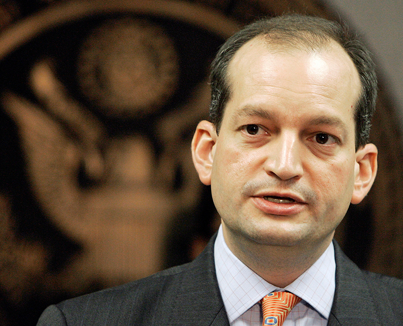 R. Alexander Acosta, then a U.S. Attorney,  is seen in this 2008 photo speaking to reporters.