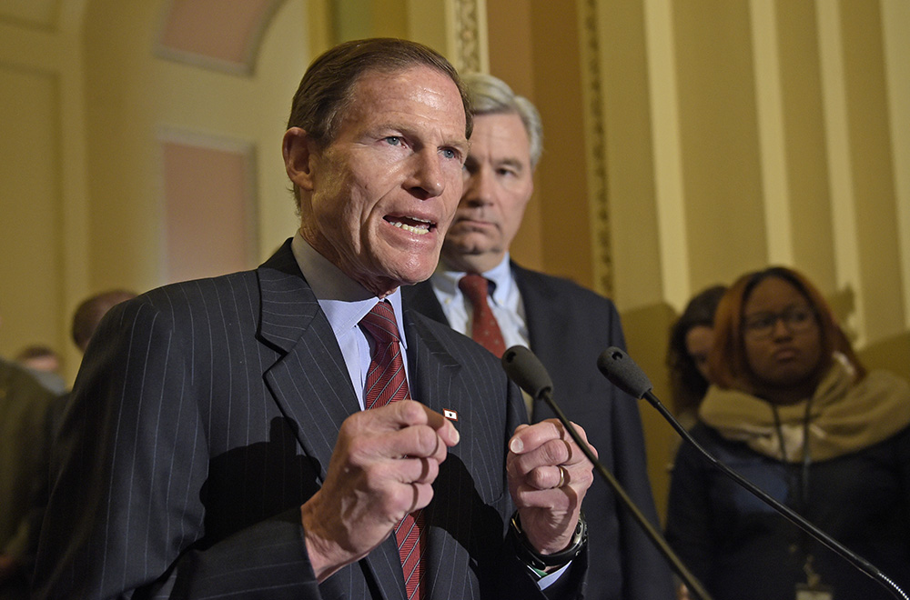 Sen. Richard Blumenthal, D-Conn., speaks to reporters on Capitol Hill. On Wednesday, Blumenthal relayed to reporters comments he said were made by Gorsuch – an account confirmed by Ron Bonjean, a member of the group guiding the judge through his confirmation process on behalf of Trump's administration.