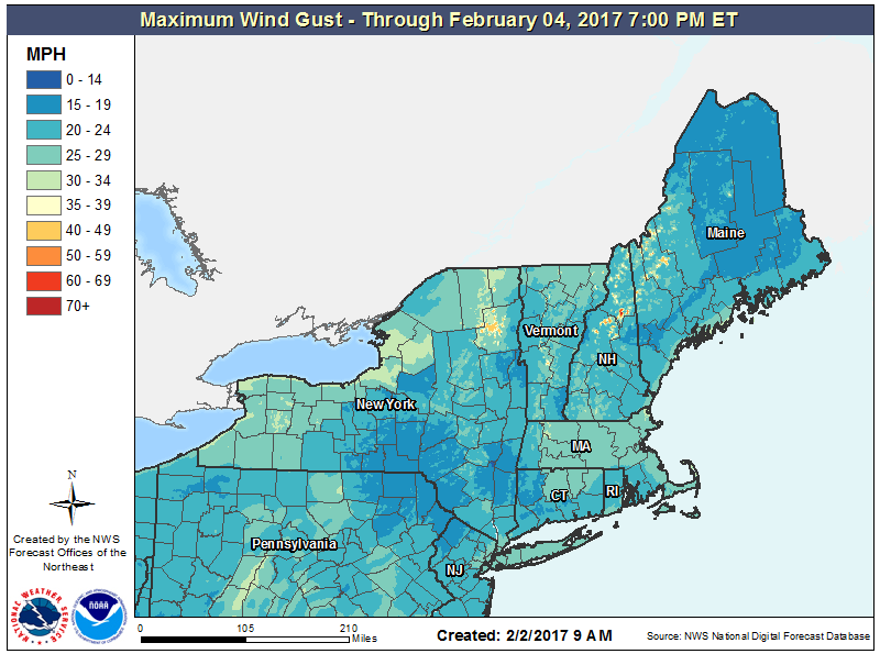 You can see how winds will be strongest on the mountains the next few days.