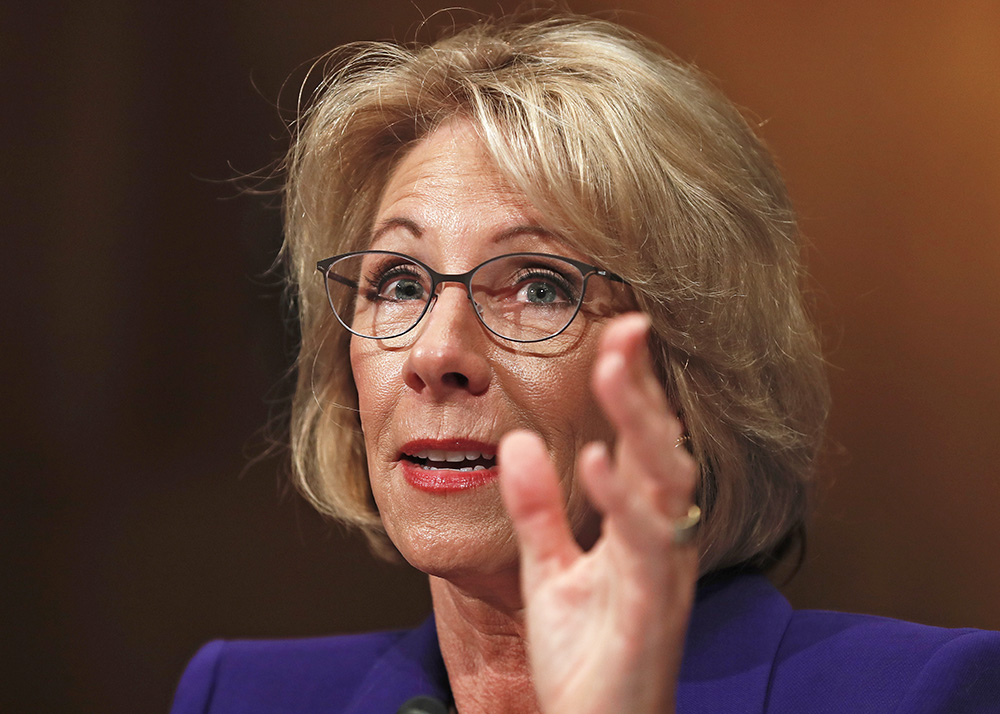 Betsy DeVos testifies at her confirmation hearing before the Senate Health, Education, Labor and Pensions Committee on Jan. 17. Maine Sen. Susan Collins was one of two Republican senators who voted against DeVos' confirmation on Tuesday.