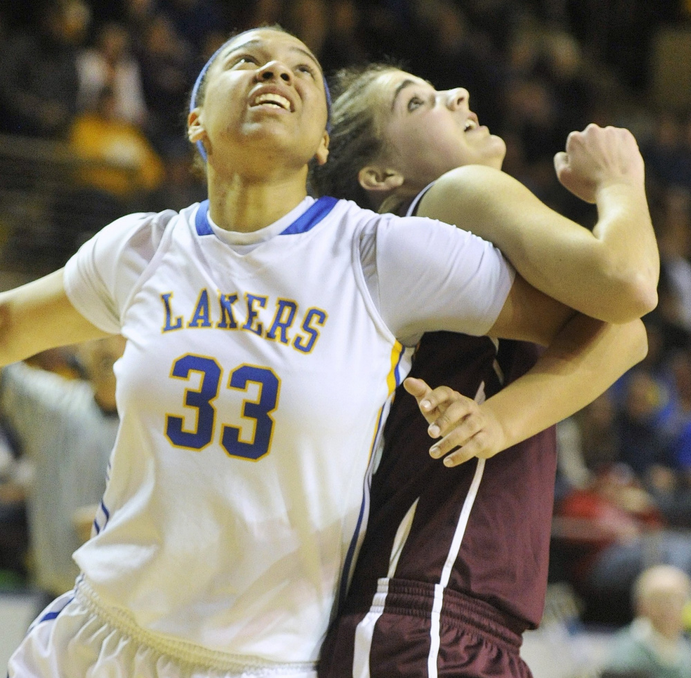The date was February 20, 2014. In the Class B West girls' basketball semifinal, Lake Region had Tiana-Jo Carter, left, and Greely had Ashley Storey. Both took their game from high school to America East, Carter at Albany and Storey with New Hampshire. And both are back in Portland for the America East quarterfinals and semifinals.