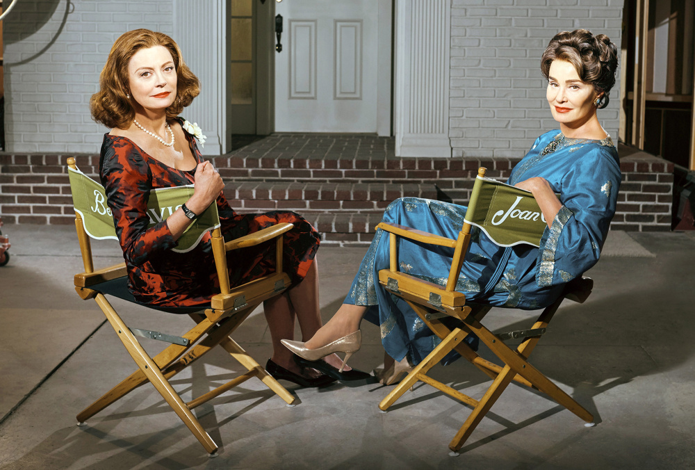 "Susan Sarandon, left, plays Bette Davis and Jessica Lange portrays Joan Crawford in FX's limited series, ""Feud: Bette and Joan,"" premiering Sunday."