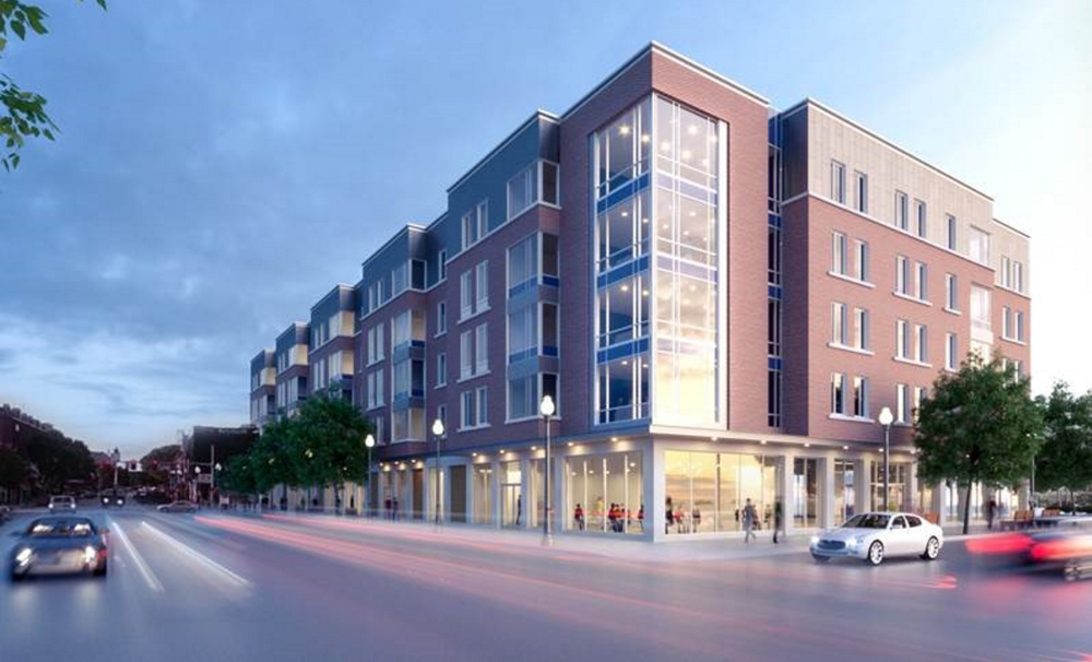 An artist's rendering shows how the completed Colby College residential complex will look on Main Street in downtown Waterville.