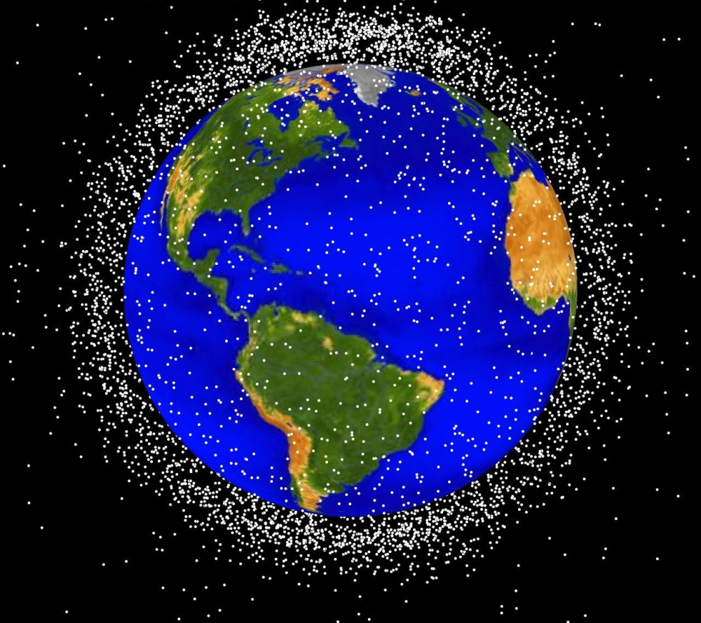 This illustration shows the scope – but not the scale – of the could of debris in low-Earth orbit, where most of out satellites and space vehicles fly.