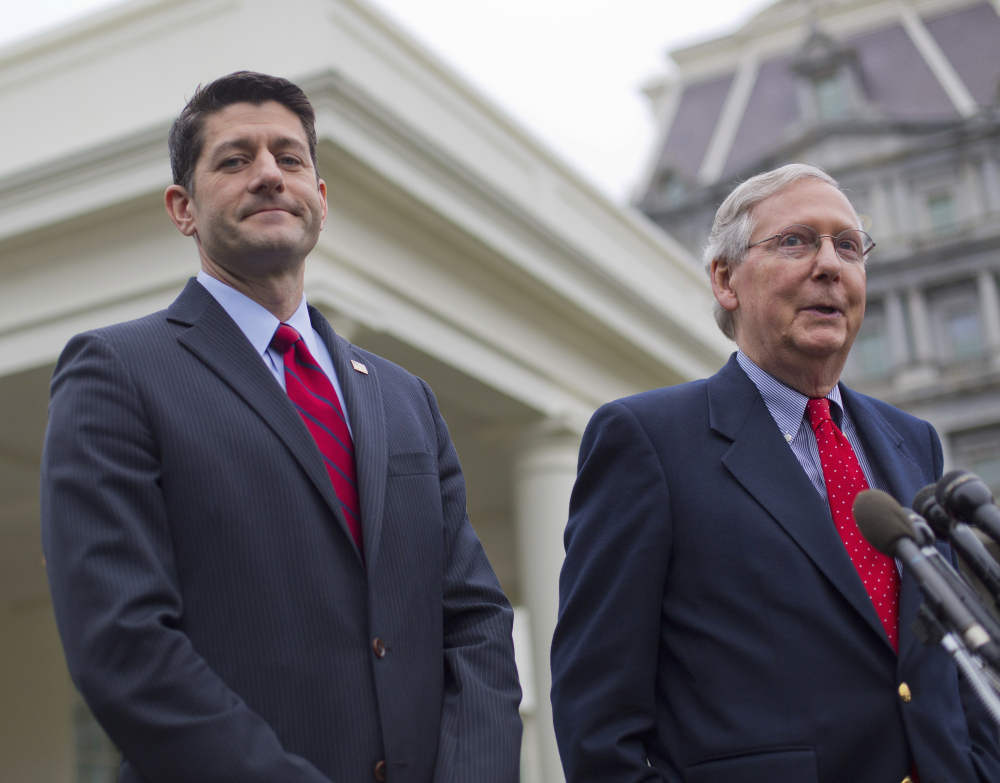 House Speaker Paul Ryan, left, listens as Senate Majority Leader Mitch McConnell speaks to reporters outside the White House last week. Both Republican leaders will be under pressure to try to bring consensus on a health care bill.