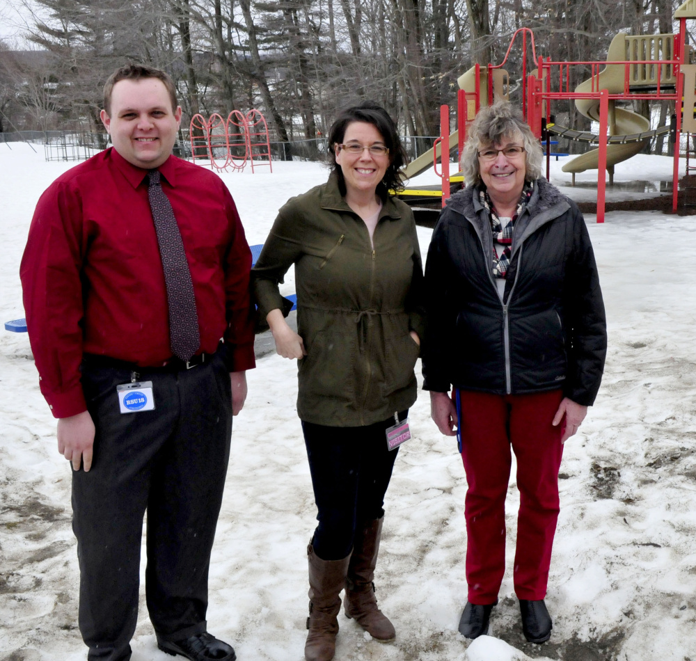 Belgrade Central School PTO members Eric Brooks, Lisa Gagne-Sengendo and principal Gwen Bacon are working to raise money for a new, more accessible playground.