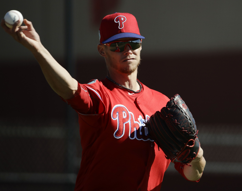 Former Boston pitcher Clay Buchholz, now with the Philadelphia Phillies, had a tough 2016 season in Boston, going 8-10 with a 4.78 ERA. Now he's the oldest starter on a promising young Philadelphia staff.