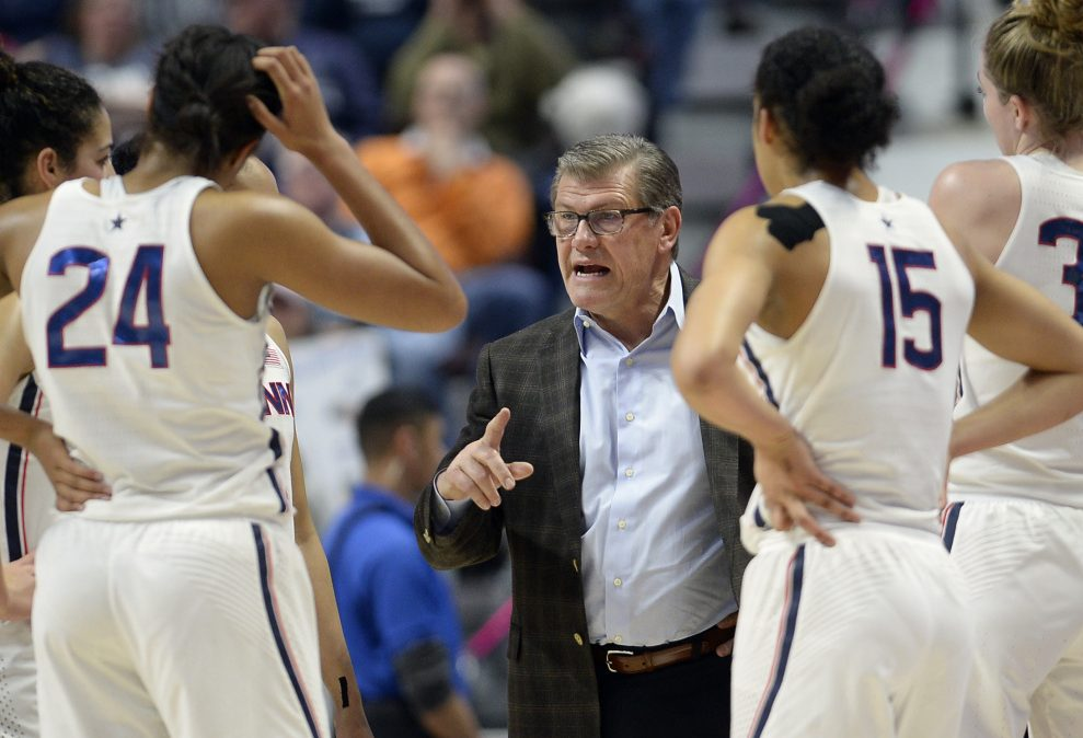 Connecticut Coach Geno Auriemma instructs his players during an American Athletic Conference semifinal Sunday against Central Florida. UConn won, 78-56.
