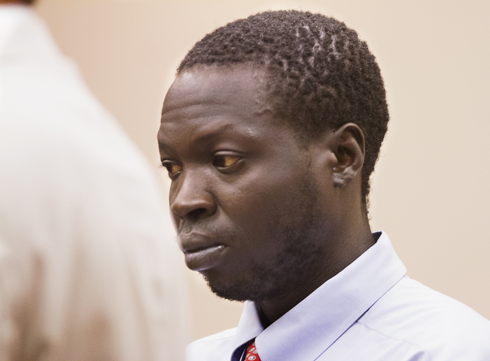 PORTLAND, ME - JULY 28:  Gang Deng Majok is arraigned at Cumberland County Courthouse on murder charges, in connection with the May 2015, Treyjon Arsenault murder, on Wednesday, July 28, 2015. (Staff photo by Carl D. Walsh/Staff Photographer)