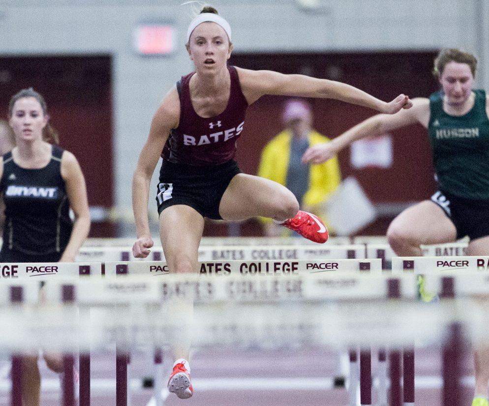 Bates senior Allison Hill of Brunswick is the top seed in the 60-meter hurdles at this weekend's NCAA Division III indoor track and field championships, with a time of 8.67 seconds.