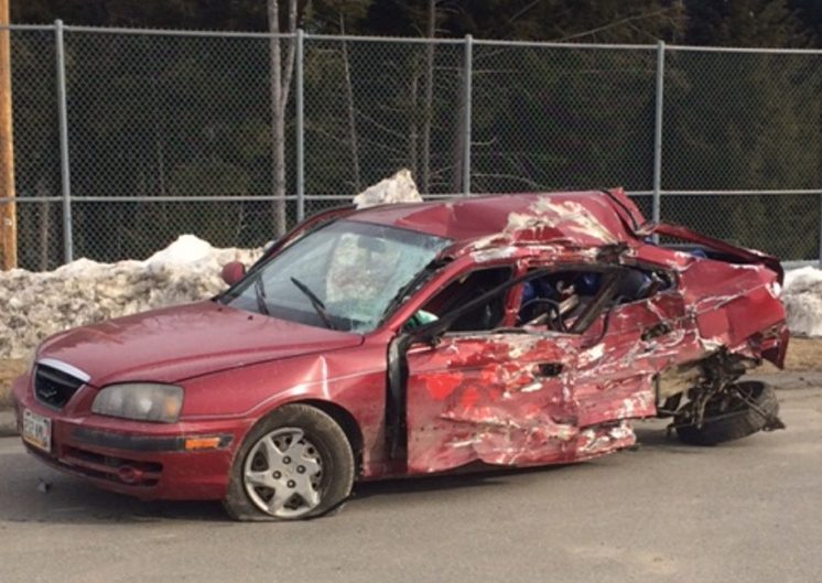 The Somerset County Sheriff's Office released this photo of the 2005 Hyundai Elantra involved in a deadly crash with a school bus in Norridgewock Friday night.