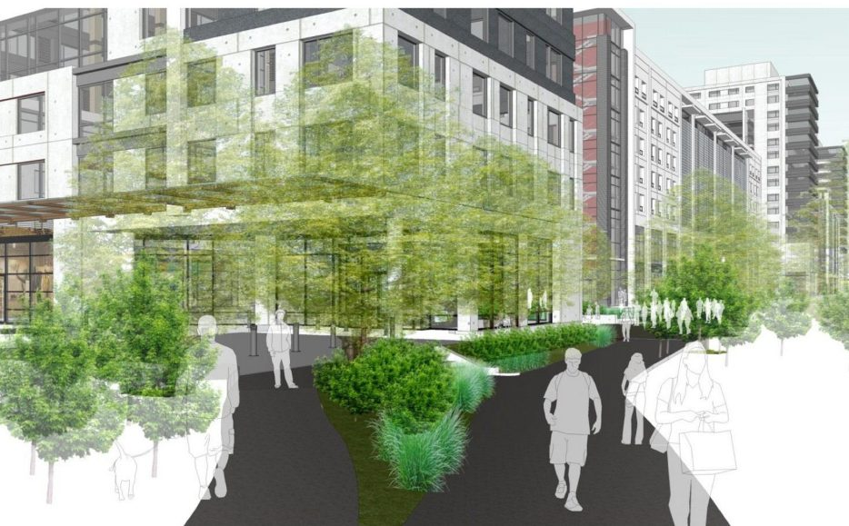 A rendering shows part of the original proposal for Bayside's