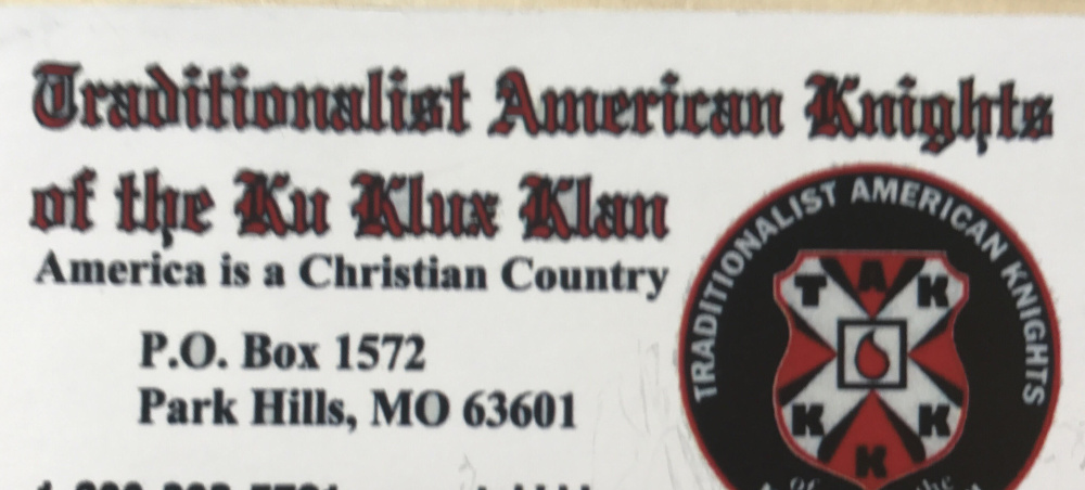 Hallowell resident Sarah Bigney says she found this Ku Klux Klan business card on the windshield of her car Monday. Bigney says she believes she was targeted because of the