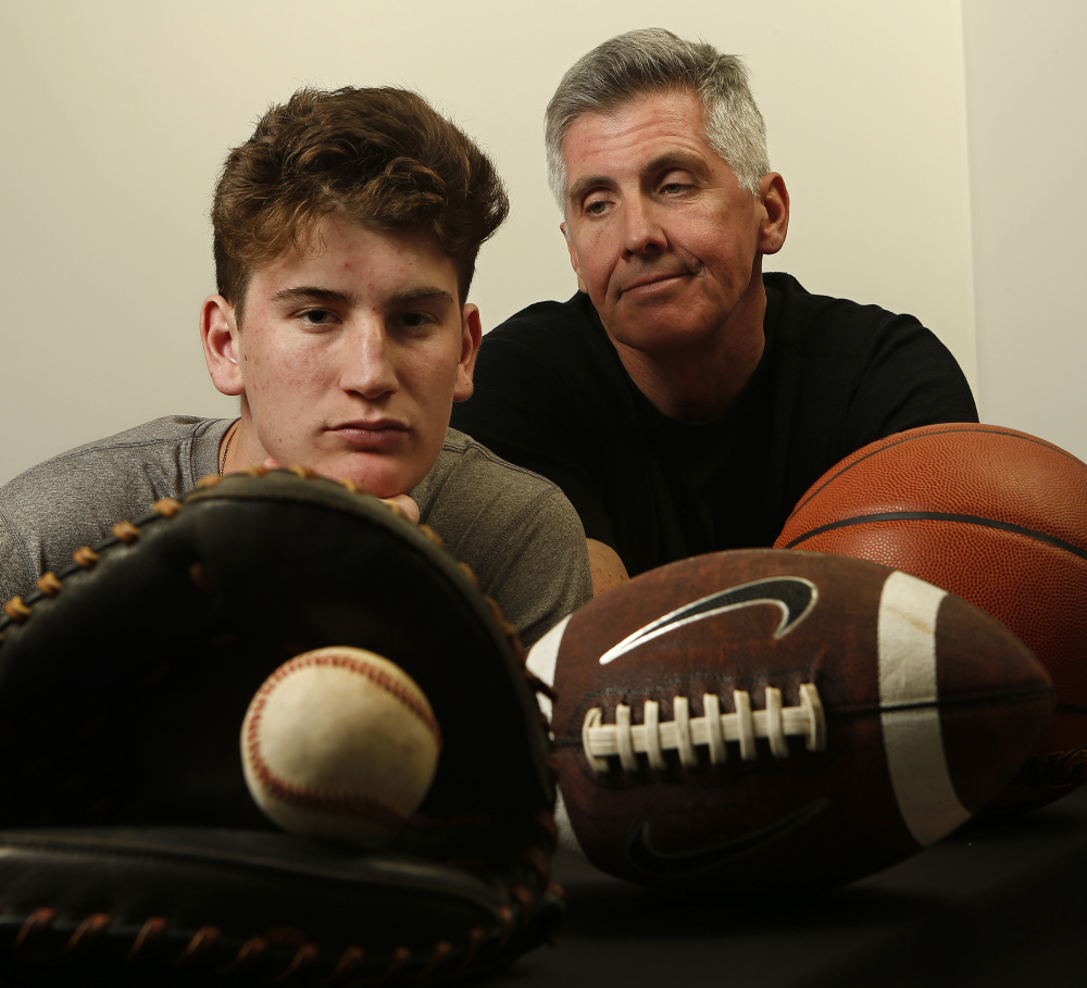 Mark Cullen, right, admits he had an obsessive focus on his son's participation in sports. Aidan, now 17, became a young star, but the mental and physical costs took a huge toll.