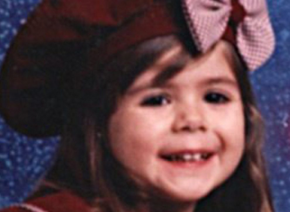 Logan Marr appears in a portrait photo that her mother, Christy Darling, carried with her during the trial of Sally Ann Schofield.