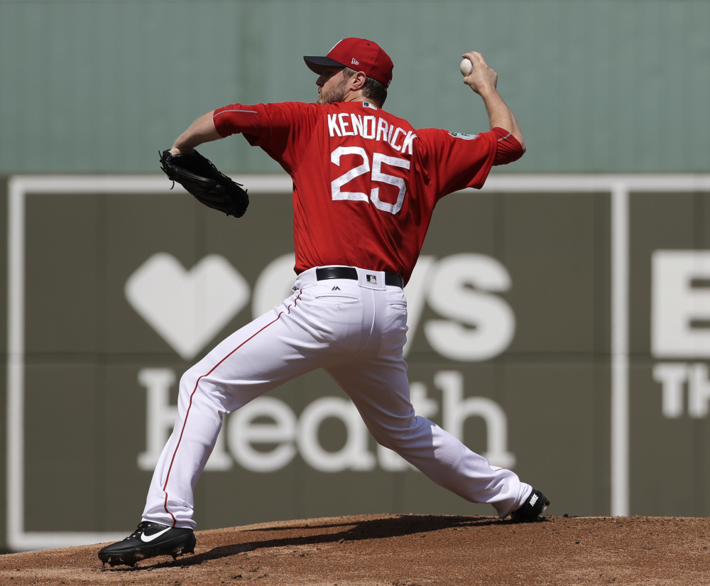 Starting pitcher Kyle Kendrick, 32, who came to Boston from Philadelphia, will be expected to play a bigger role if Drew Pomeranz continues to have triceps problems.