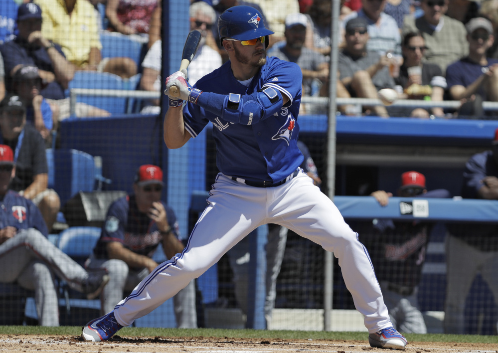 Toronto's Josh Donaldson takes a pitch Monday against Minnesota at Dunedin, Fla., as the Blue Jays slugger appeared in his first spring training game. He was 0 for 2 with a walk.