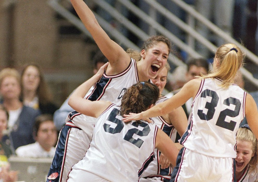 Rebecca Lobo was celebrating a national title for Connecticut in 1995 with teammates Kara Wolters, 52, and Pam Weber. But two years earlier she was a sophomore on a team that wasn't sure it would make the NCAAs.