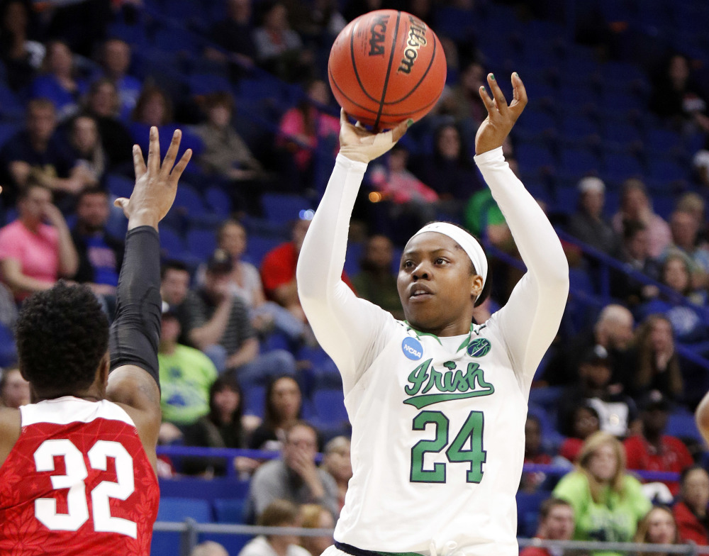 Notre Dame's Arike Ogunbowale scored 32 points to lead the Irish to a 99-76 victory over Ohio State and a berth in the Elite Eight, on Friday in Lexington, Ky.